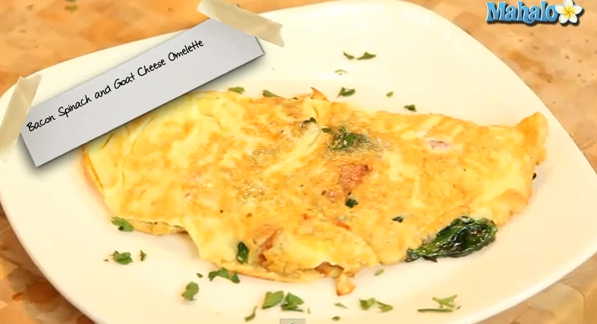 Bacon, Spinach & Goats Cheese Omelette
