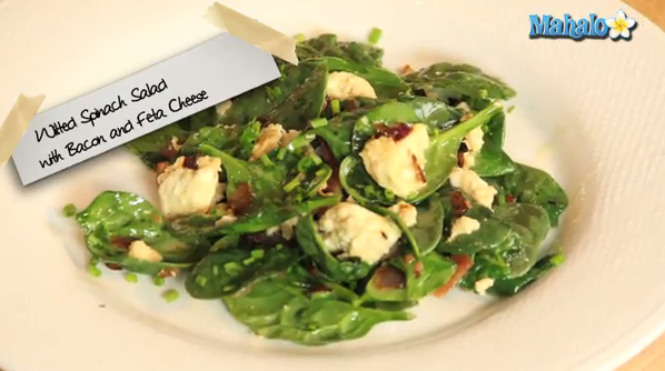 How to make a warm spinach, bacon and feta cheese salad