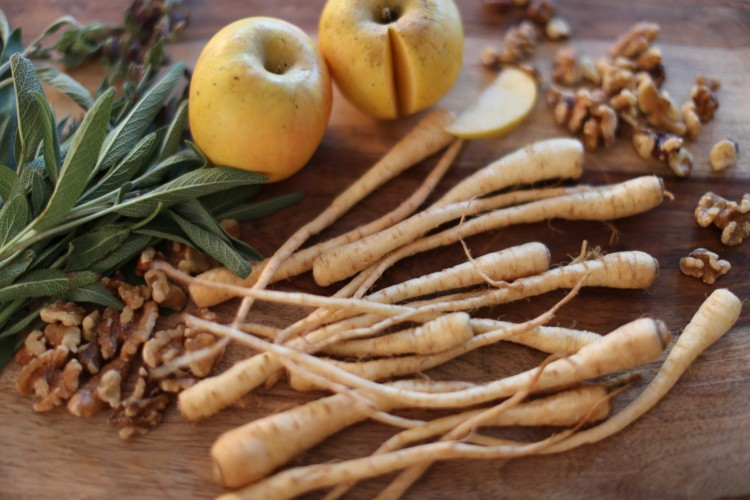 Roasted Skinny Parsnips with Apple and Fresh Sage