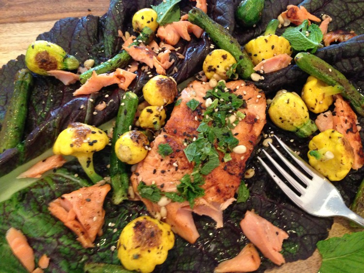 Swiss chard with squash and grilled salmon