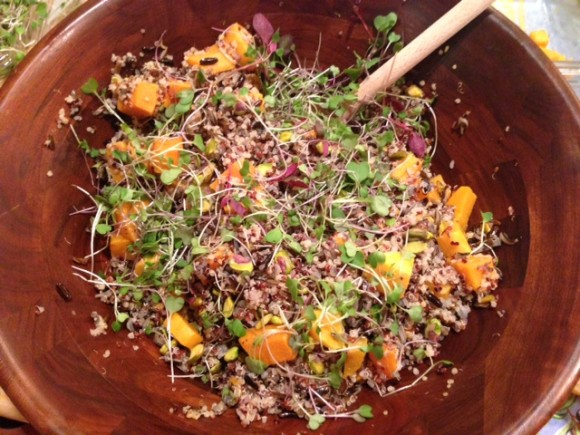 Quinoa and Wild Rice Salad with Roasted Squash, Pomegranates and Pistachios